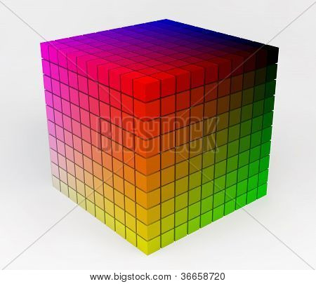 Cubic Colorful Color Palette Illustration 3D Isolated On White Background