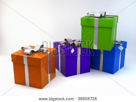 Gift Boxes In Various Colors 3D Illustration, Isolated On White Background
