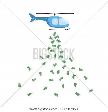.vector Illustration. Helicopter Money To Support The Economic System, Business. Monetary Policy Of