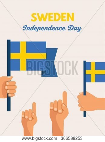 National Day Of Sweden, Independence Day. Hand Holding A Swedish Flag. Vector Illustration