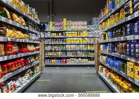 Moscow, Russia, 05/15/2020: Shelves With A Large Selection Of Products In A Supermarket. Marking For