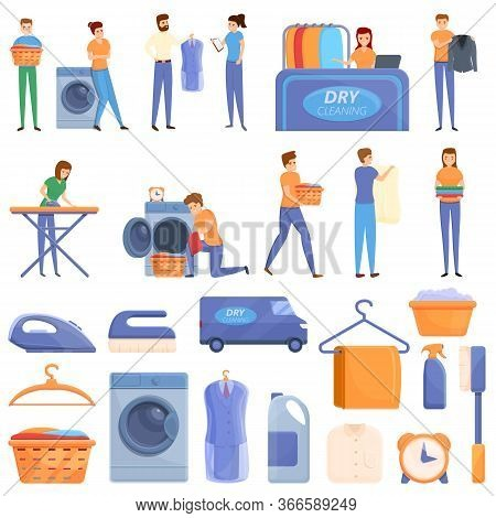 Dry Cleaning Icons Set. Cartoon Set Of Dry Cleaning Vector Icons For Web Design
