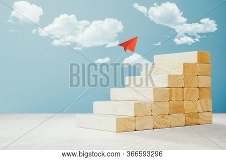 Arranging Wood Cube Block Stacking As Step Stair For Business Concept Of Ladder Career Path And Grow
