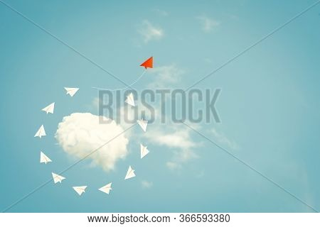 Business Concept, Outstanding Red Plane Pointing In Different Way With New Idea. The Different Way A