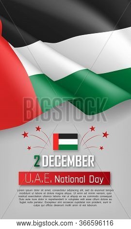 United Arab Emirates National Day Vertical Flyer. 2th Of December Greeting Vector Illustration. Patr