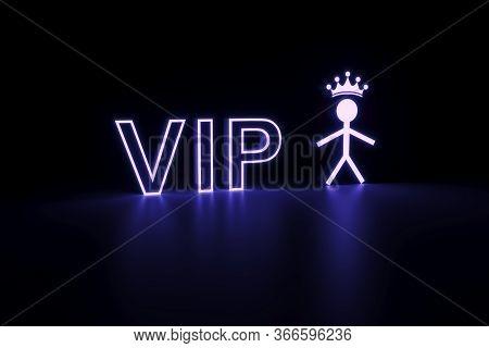 Vip Neon Concept Self Illumination Background 3d Illustration