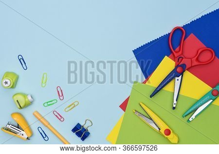 Crafts And Scrapbooking Preschool Education Flat Lay. Tools For Creativity With Kids At Home. Colorf