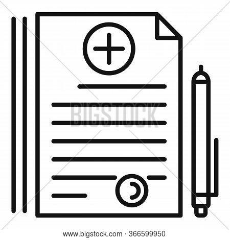 Hospital Prescription Icon. Outline Hospital Prescription Vector Icon For Web Design Isolated On Whi