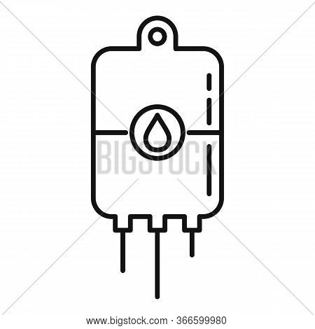 Blood Transfusion Bag Icon. Outline Blood Transfusion Bag Vector Icon For Web Design Isolated On Whi