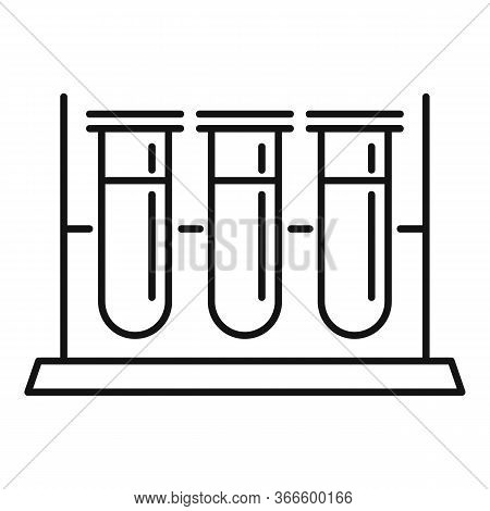 Test Tubes Stand Icon. Outline Test Tubes Stand Vector Icon For Web Design Isolated On White Backgro