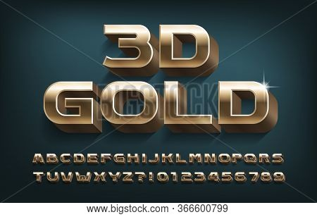 3d Gold Alphabet Font. Golden Metal Letters, Numbers And Symbols. Stock Vector Typescript For Your T
