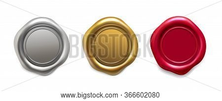 Seal Wax Set. Golden, Silver, Red Wax Candle Stamp. Quality Guaranteed Logo, Postage Label Realistic