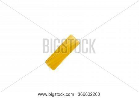 Italian Raw Dry Pasta Rigatoni Isolated On White Background