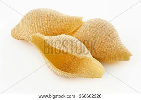 Italian Raw Dry Pasta Conchiglioni Isolated On White Background. Pasta For Baking