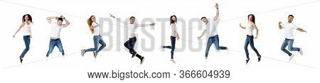 Collage Of Happy Carefree Millennials People Jumping In Air Isolated On White Background. Group Of Y