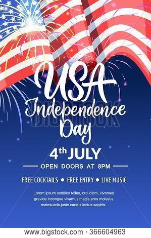 4th Of July, Usa Independence Day. Vector Holiday Poster, Banner Background With American Flag And C