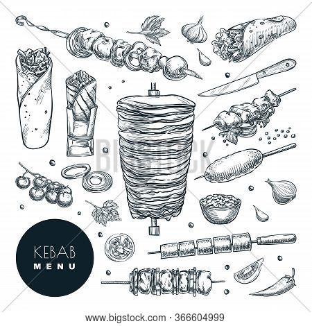 Doner Kebab Set. Vector Hand Drawn Sketch Illustration. Beef, Lamb And Chicken Barbecue Meat, Restau