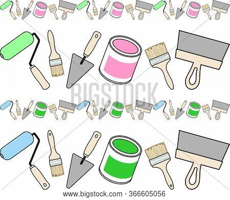 Horizontal Border Of Working Tools Of A House-painter. Design Template For Repair Concept, Repair To