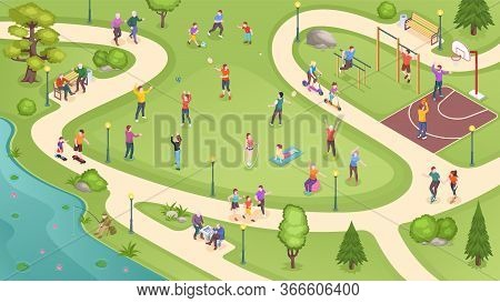 People In City Park, Sport Activity And Summer Leisure Games, Isometric Vector Background. People In