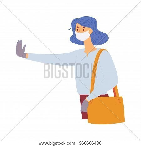 Young Woman In Protective Face Mask With Stop Gesture. Casual Clothes, Annoyed Face.