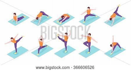 Man Yoga Poses Exercise On Yoga Mat, Vector Isometric Icons. Boy Man Body Balance And Stretch, Sport