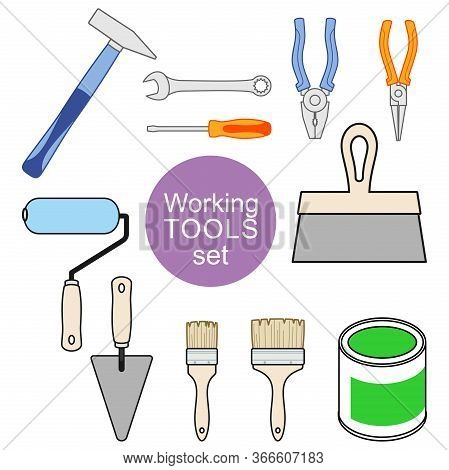 Set Of Working Tools For Repair And Construction. Working Tools Of A House-painter. Vector Decorativ