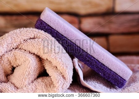 Purple Pumice Stone For Women And Pink Towel So Close