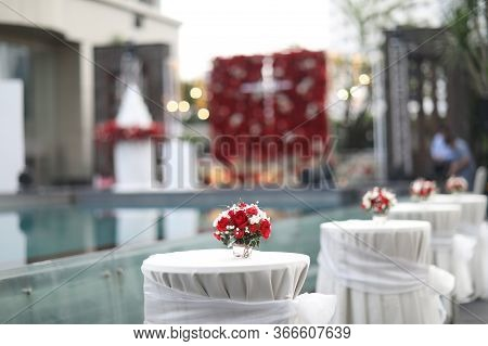 Table Set For Wedding Or Another Catered Event Dinner, Luxury Wedding Table Setting For Fine Dining