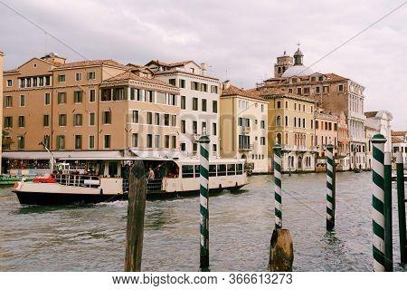 Venice, Italy - 04 October 2019: Vaporetto - River Tram, Shuttle Boat, Main Transport In Island Part