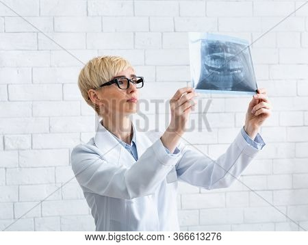 Doctor Watches To X-ray. Woman Dentist Looks At Snapshot Of Teeth On White Brick Wall Background