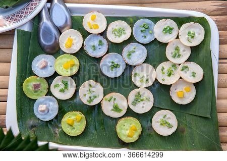 Kind Of Thai Sweetmeat . Coconut Milk Mix With Powder Fried Dessert. Making Of Thai Sweetmeat Khanom
