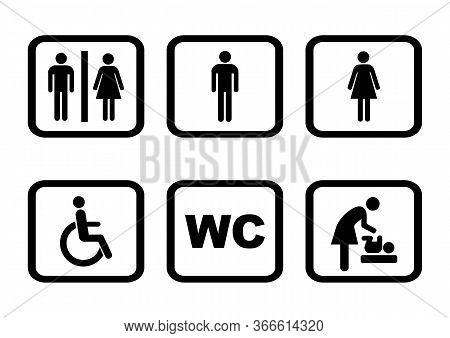 Wc Sign Icon. Toilet Symbol. Washroom Vector Icon