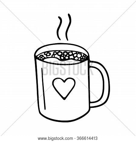 Large Mug Of Coffee Or Cocoa Hand-drawn. Vector Doodle Illustration Black Outline On A White Backgro