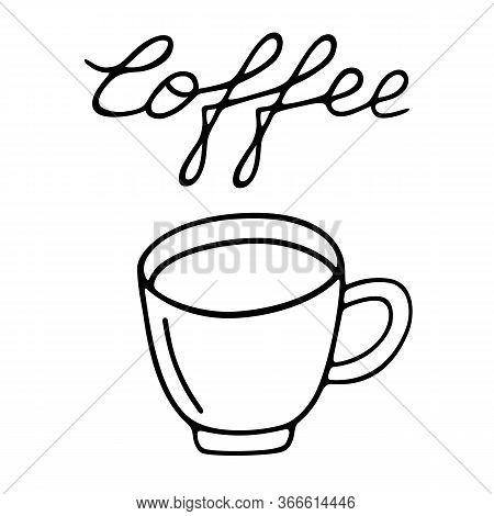 Large Mug Of Coffee Hand-drawn. Vector Doodle Illustration Black Outline On A White Background