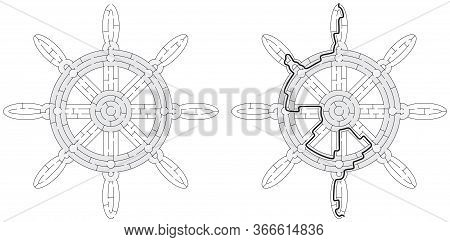 Ships Wheel Maze Maze For Kids With A Solution In Black And White