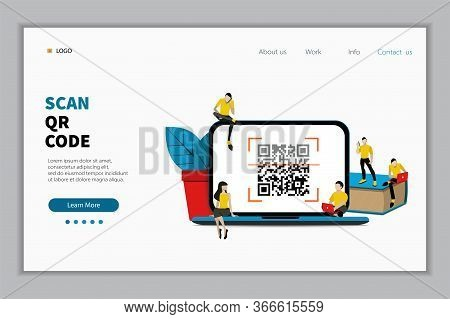 Qr Code Scanning Vector Illustration Concept, People  Scan Qr Code For Payment And Everything, Can U