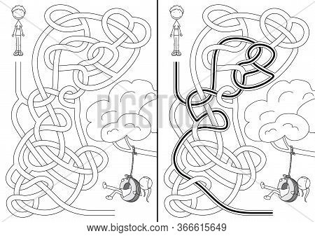 Tyre Swing Maze For Kids With A Solution In Black And White