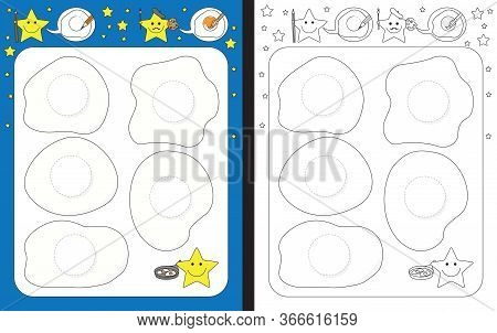 Preschool Worksheet For Practicing Fine Motor Skills - Tracing Dashed Lines Of Egg Yolks