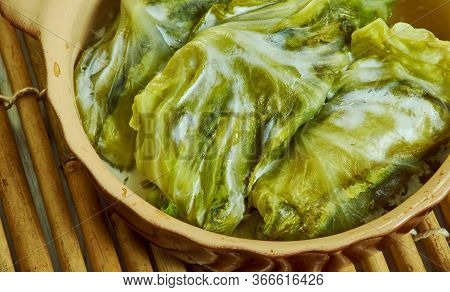 Hamsi Dolmas, - Anchovy Turkish Cabbage Dolma Close Up