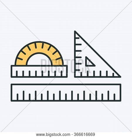 Set Of School Drawing Tools. Vector Illustration Of Ruler, Protractor, Square Geometry Tools. Can Be