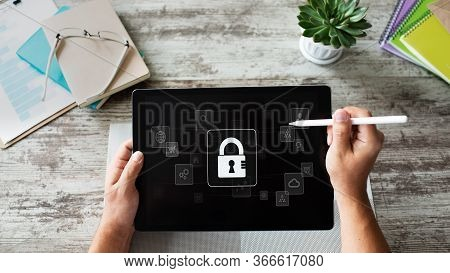 Cyber Security, Data Protection, Information Privacy Concept On Device Screen.