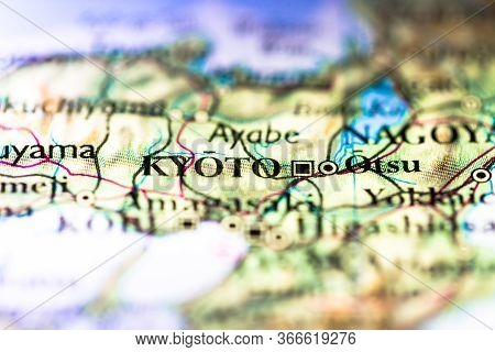 Shallow Depth Of Field Focus On Geographical Map Location Of Kyoto City In Honshu Island Japan Asia