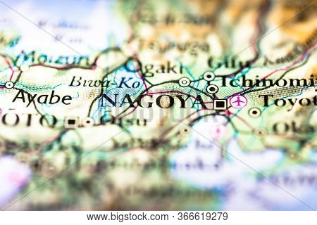 Shallow Depth Of Field Focus On Geographical Map Location Of Nagoya City In Honshu Island Japan Asia