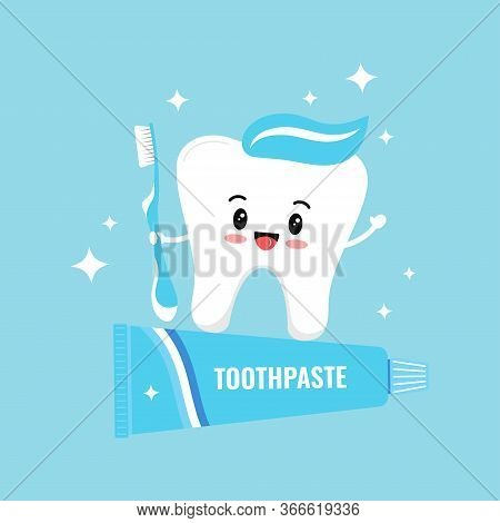 Cute White Tooth Emoji Holding Toothbrush Stand On Toothpaste. Flat Design Cartoon Kawaii Style Happ