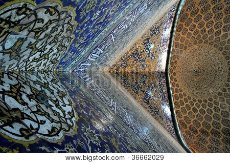 Brightly decorated interior of a dome in Esfahan poster