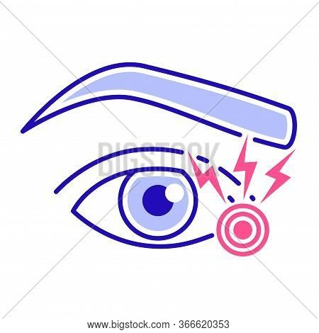 Acute Eye Pain Color Line Icon. Eye Inflammation. Allergy Symptoms. Isolated Vector Element. Outline