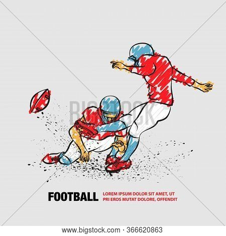 American Football Kicker Hits The Ball. Vector Outline Of Football Player With Scribble Doodles Styl