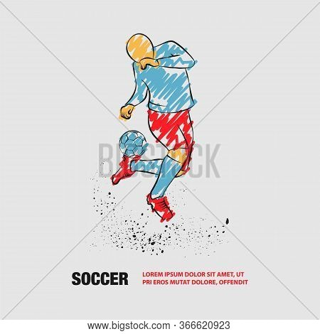 Soccer Player Fights With Ball On Heel. Vector Outline Of Soccer Player With Scribble Doodles Style.