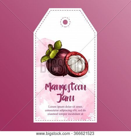 Mangosteen Icon In Flat Style. Isolated Object. Mangosteen Logo. Vector Illustration On White Backgr