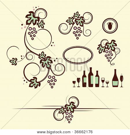 Winery design objects set.